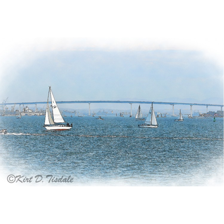 The Coronado Bridge With Sailboats