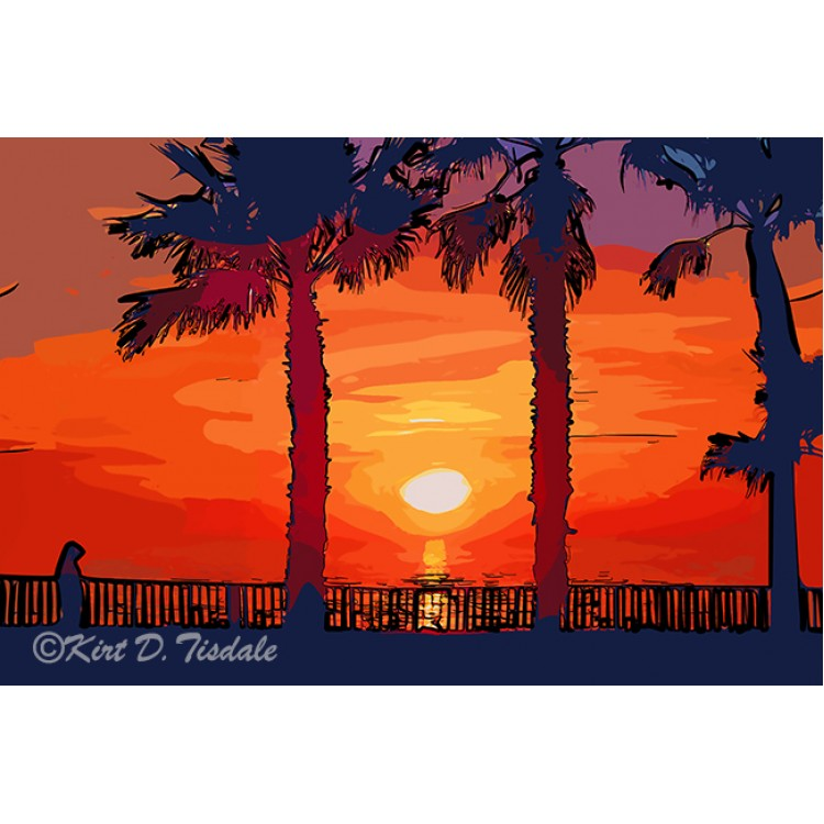Sunset Between Two Palm Trees