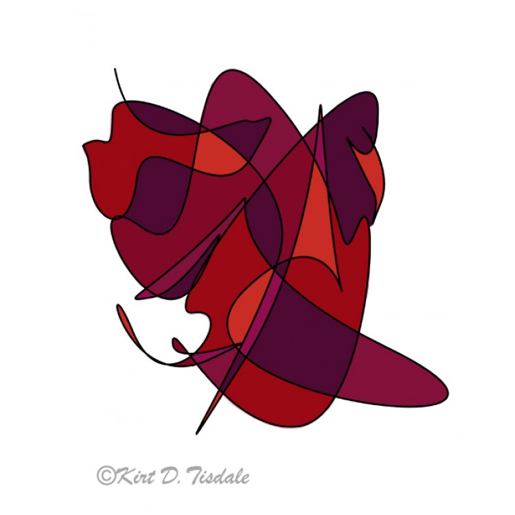 Abstract Lines And Curves In Red