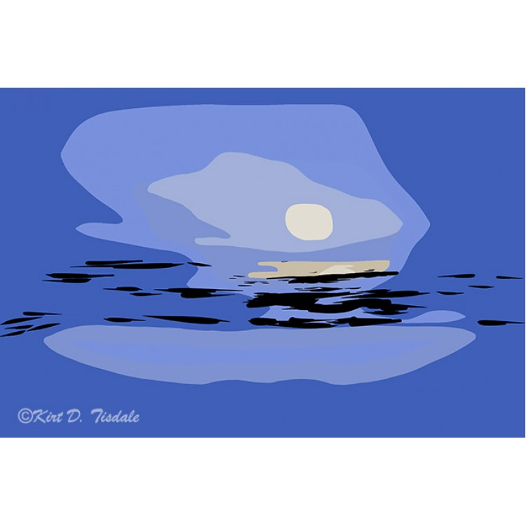 Abstract Coastal Moon Setting