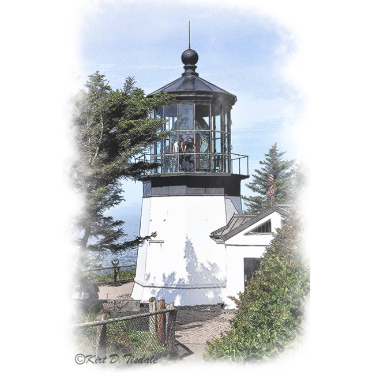 Cape Meares Lighthouse in Watercolor