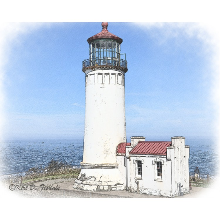 North Head Lighthouse In Watercolor