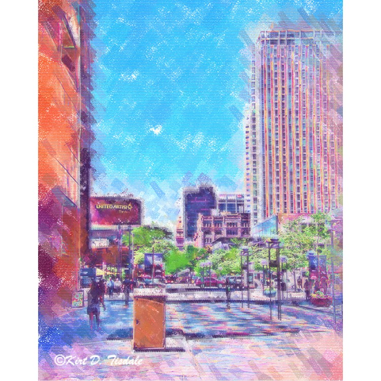 Denver 16th Street Mall In Pastel