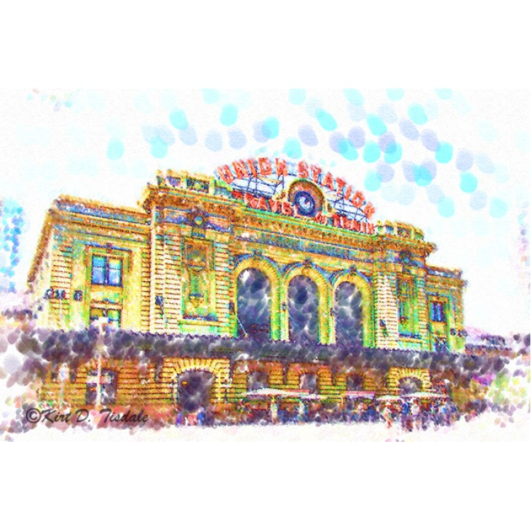 Denver Union Station In Pointillism
