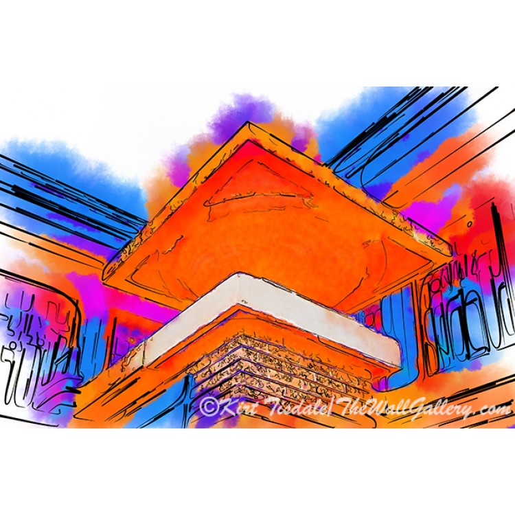 Architectural Elements In Abstract Watercolor