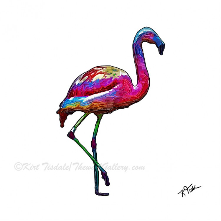 One Step At A Time Abstract Flamingo
