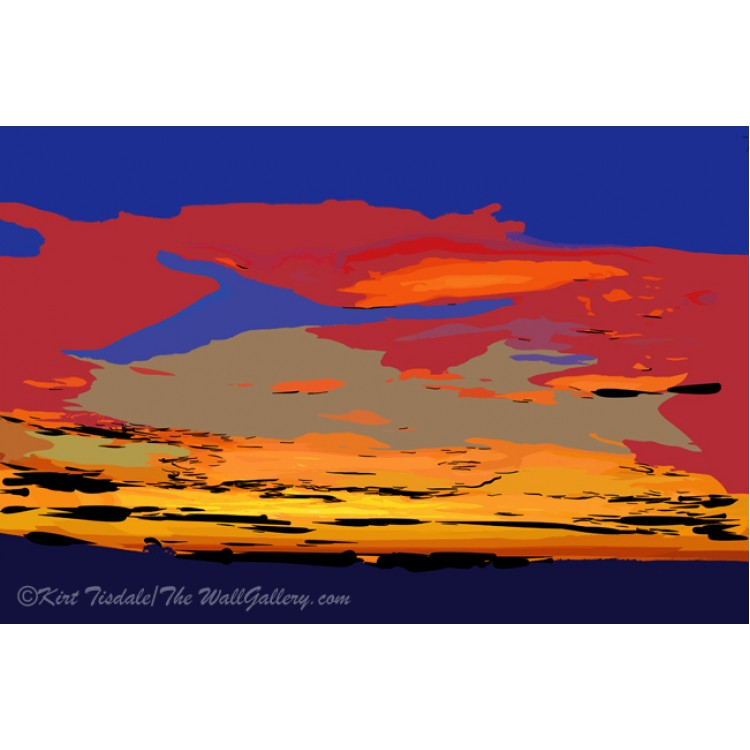 Blue And Red Ocean Sunset