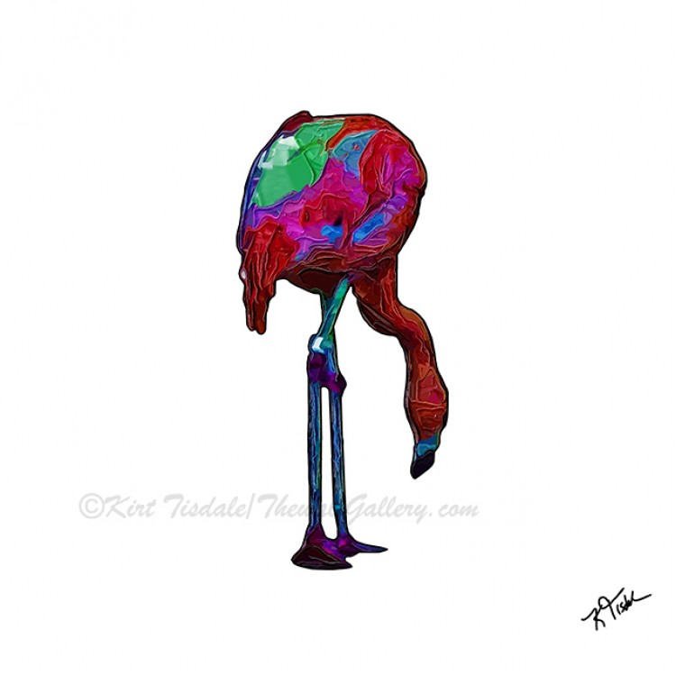 Stooped Over Abstract Flamingo