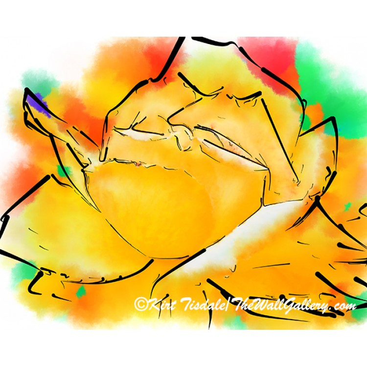 Yellow Rose In Abstract Watercolor