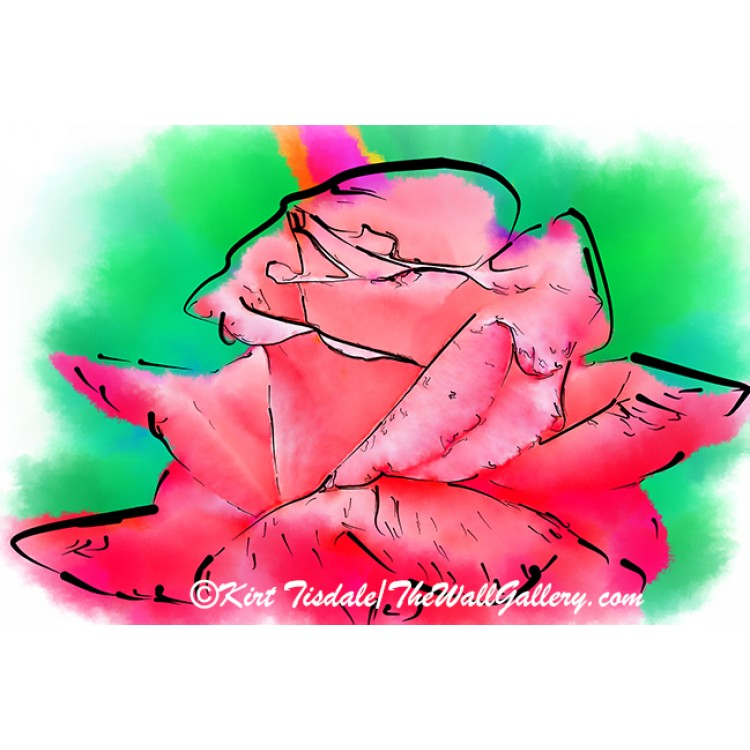 Subtle Red Rose In Abstract Watercolor