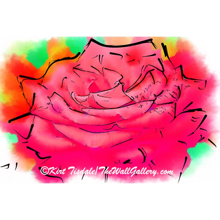 Soft Red Rose Bloom In Abstract Watercolor