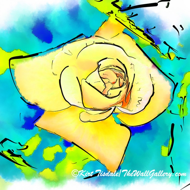 Yellow Rose Bud In Abstract Watercolor