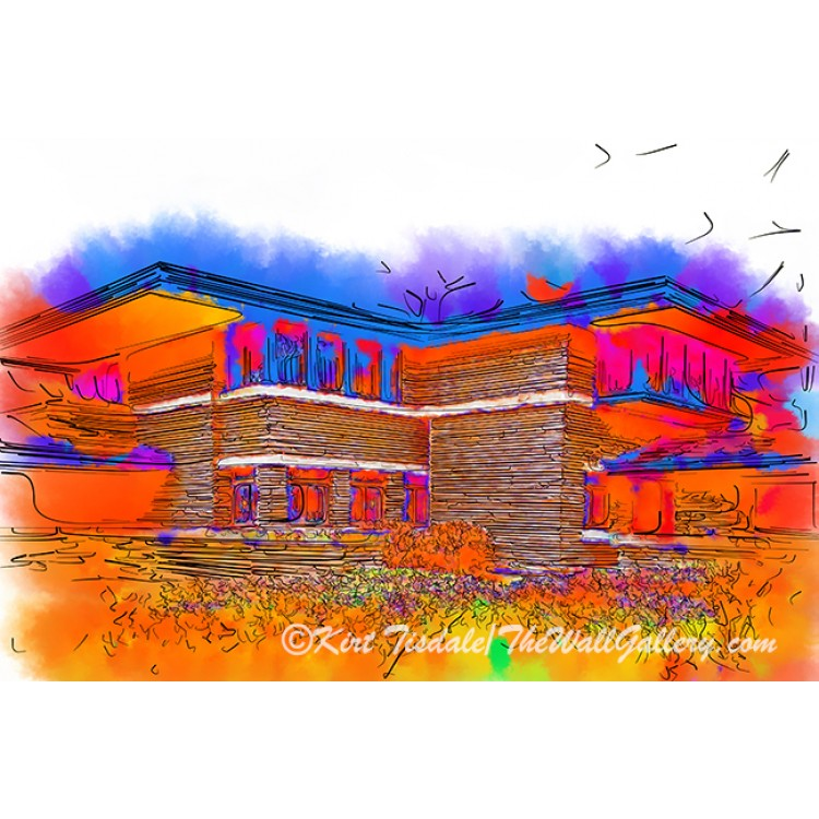 Frank Lloyd Wright Home In Abstract Watercolor