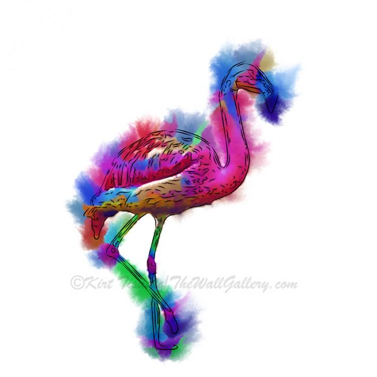 Prancing Flamingo Abstract