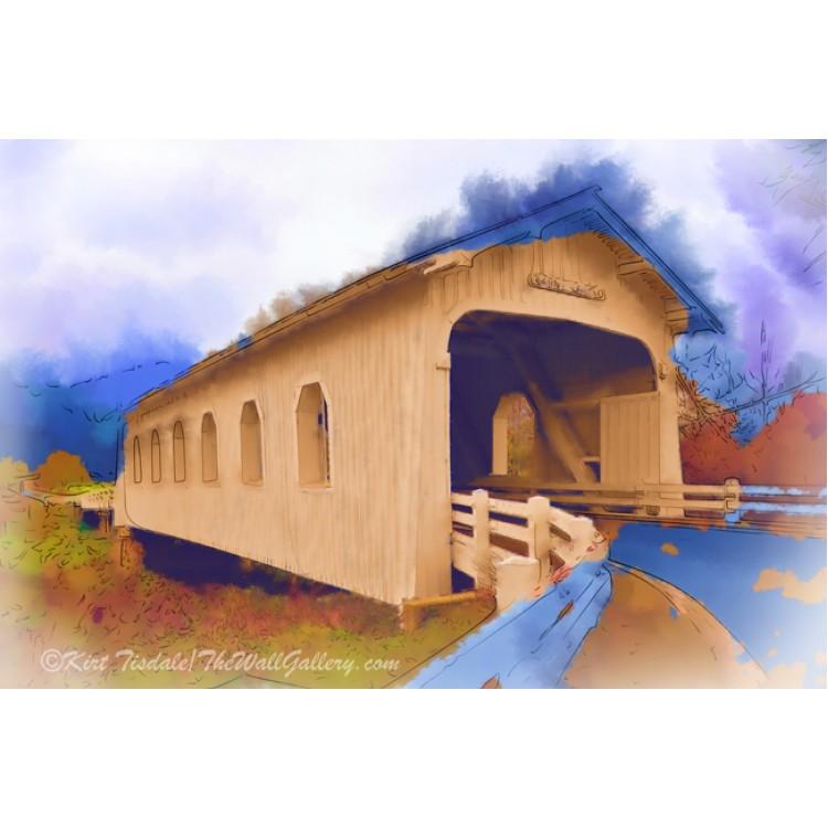 Grave Creek Covered Bridge In Watercolor
