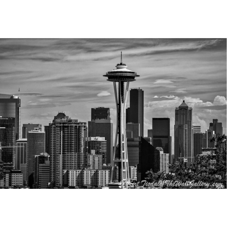 Seattle Skyline In Black And White