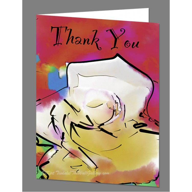 Soft White Rose Bloom Thank You Card
