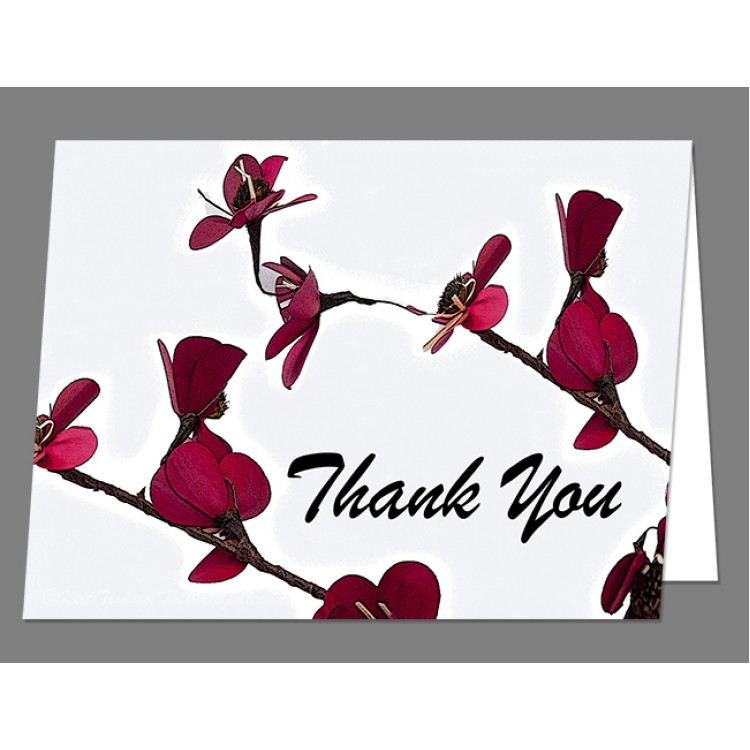 Dainty Red Double Stem Thank You Card