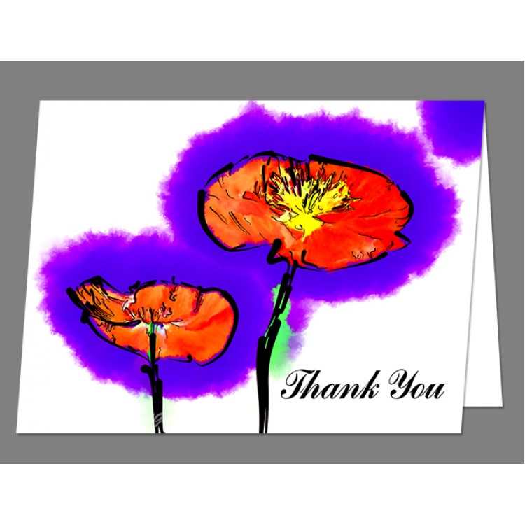 Red Poppies Thank You Card