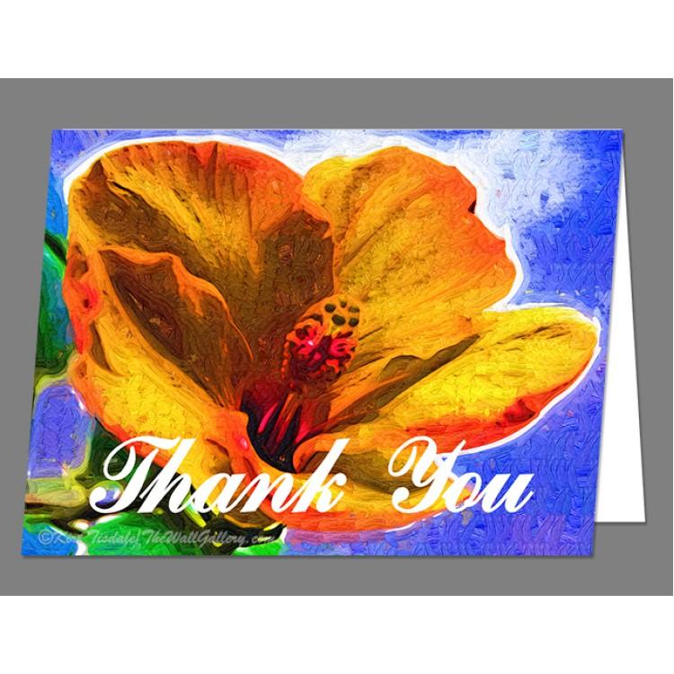 Orange Hibiscus Thank You Card