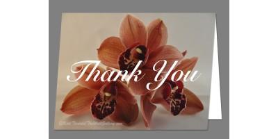 Orange Orchid Trio Thank You Card