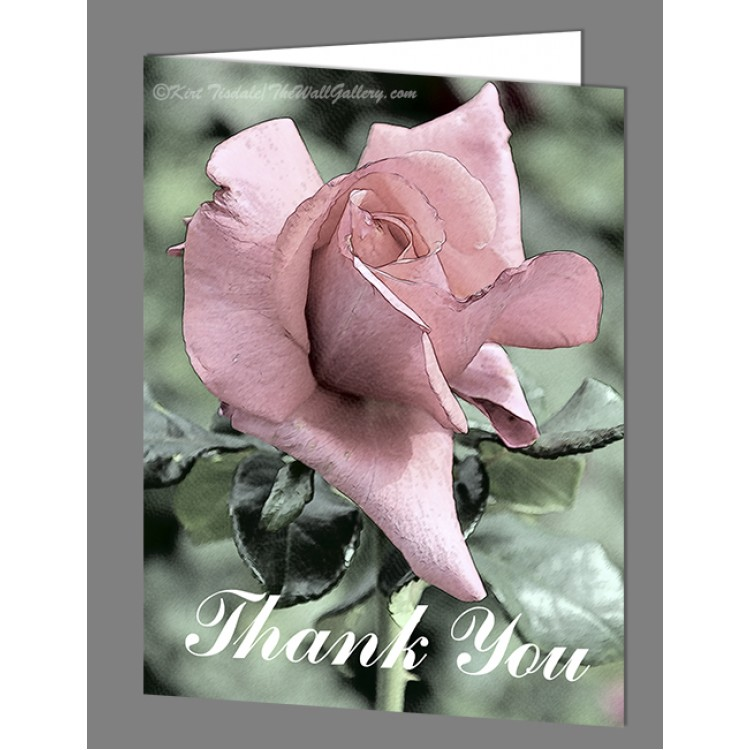 Subtle Pink Rose Thank You Card