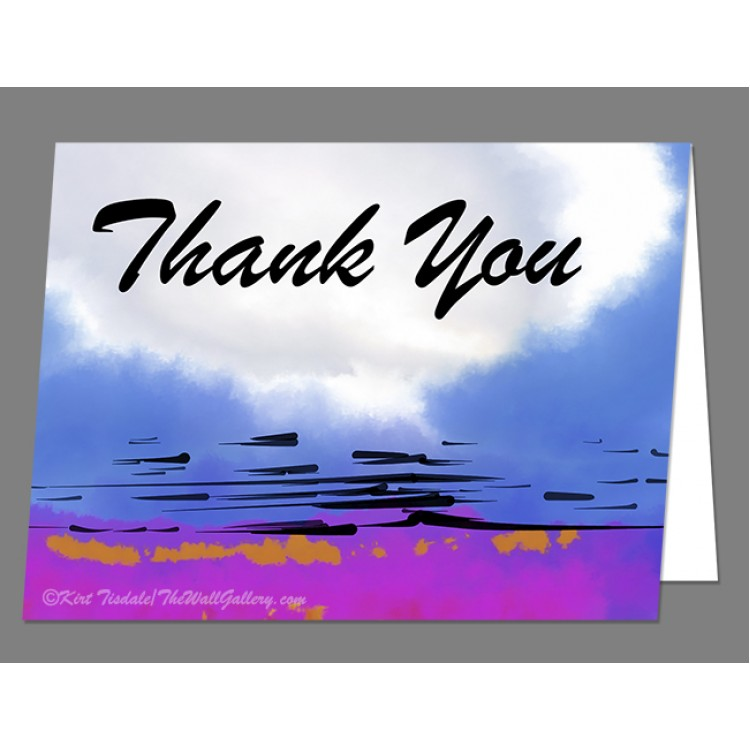 Blue Abstract Sunset Thank You Card