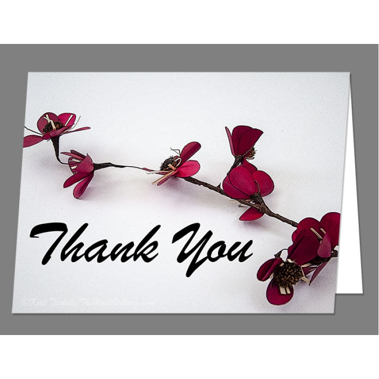 Dainty Red Single Stem Thank You Card