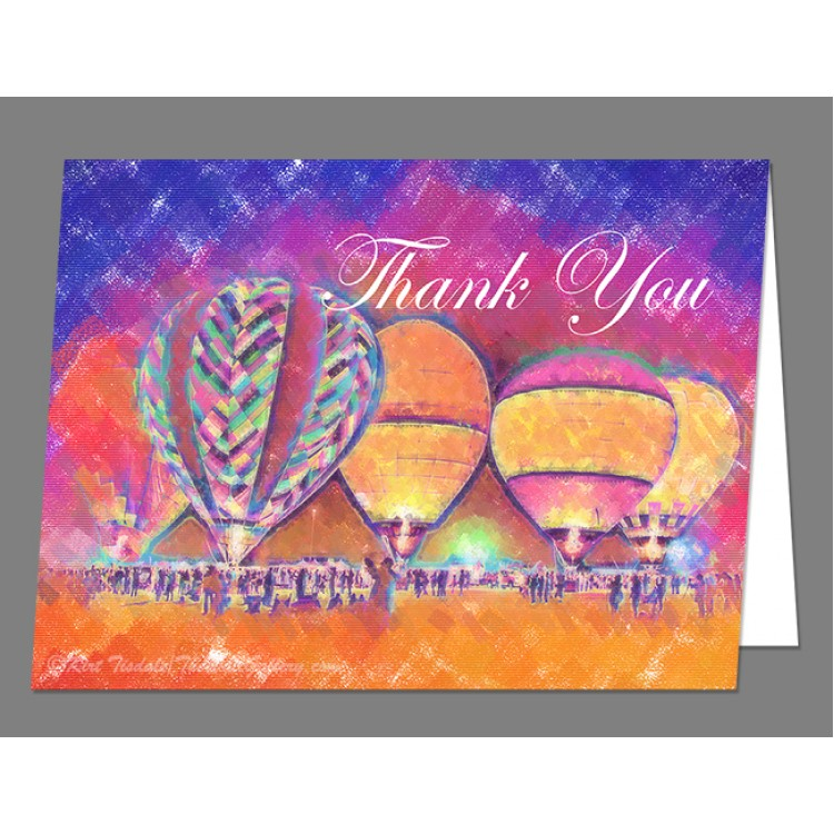 Five Glowing Hot Air Balloons In Pastel Thank You Card