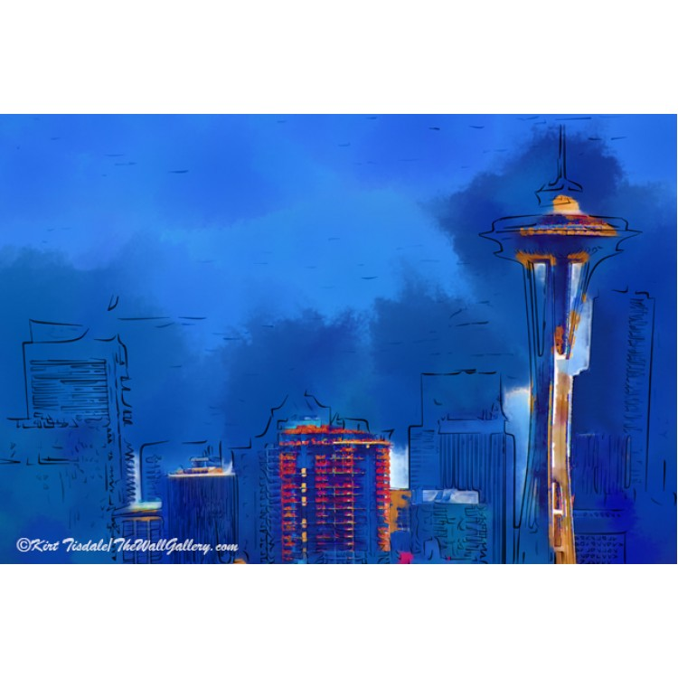 Space Needle in Blue Watercolor