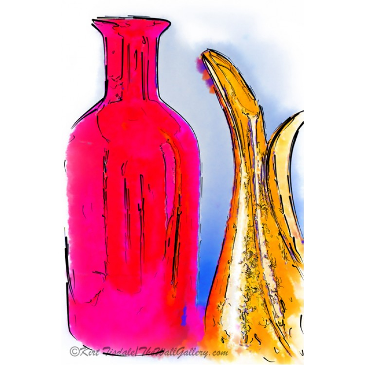 The Pitcher And Vase Watercolor
