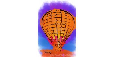 Peach Hot Air Balloon Night Glow Watercolor