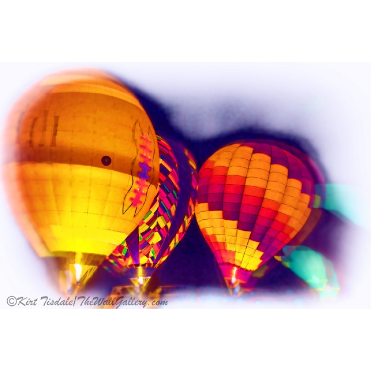 Night Glow Hot Air Balloons In Soft Watercolor