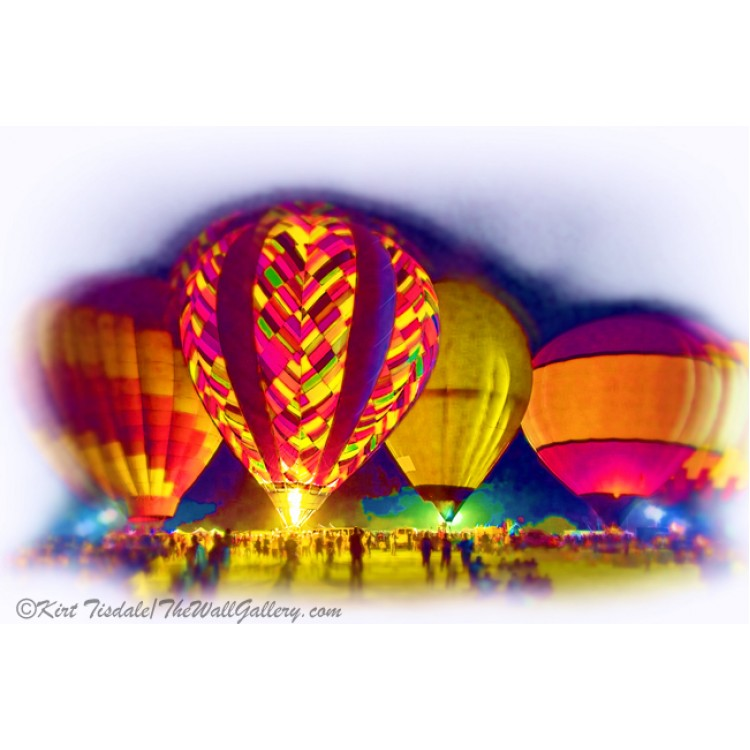Hot Air Balloons Night Festival In Soft Watercolor