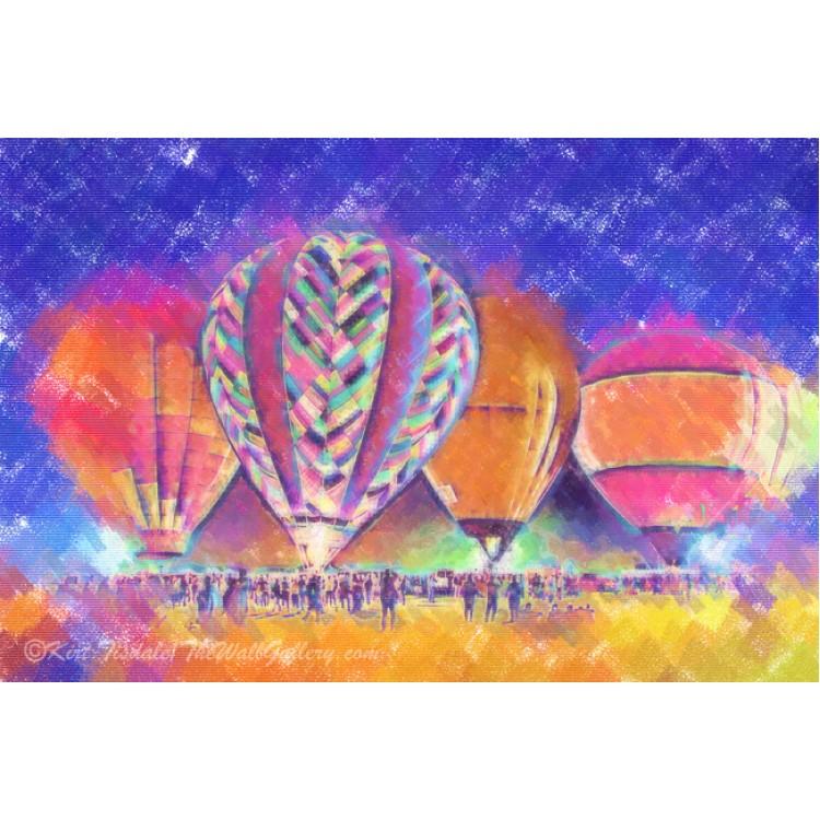 Hot Air Balloons Night Festival In Pastel