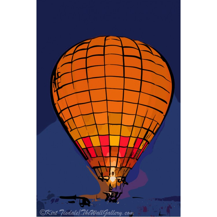 Peach Hot Air Balloon Night Glow In Abstract