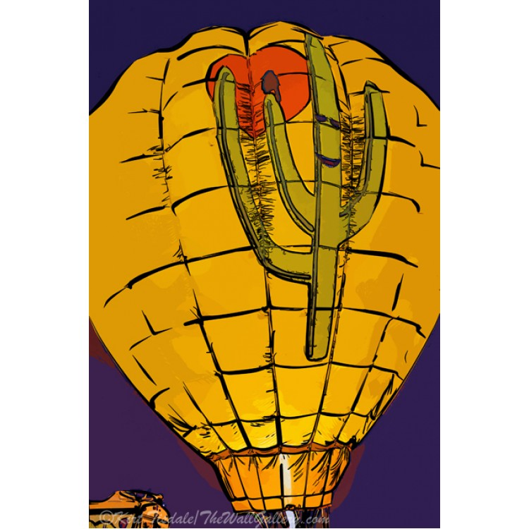 Hot Air Balloon Cactus Night Glow