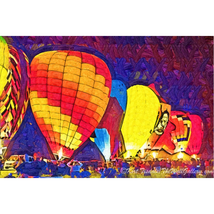 Night Hot Air Balloon Festival In Fauvism