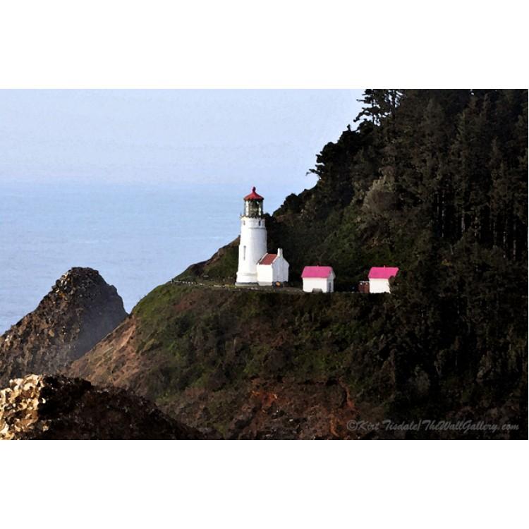 Heceda Head Lighthouse Watercolor