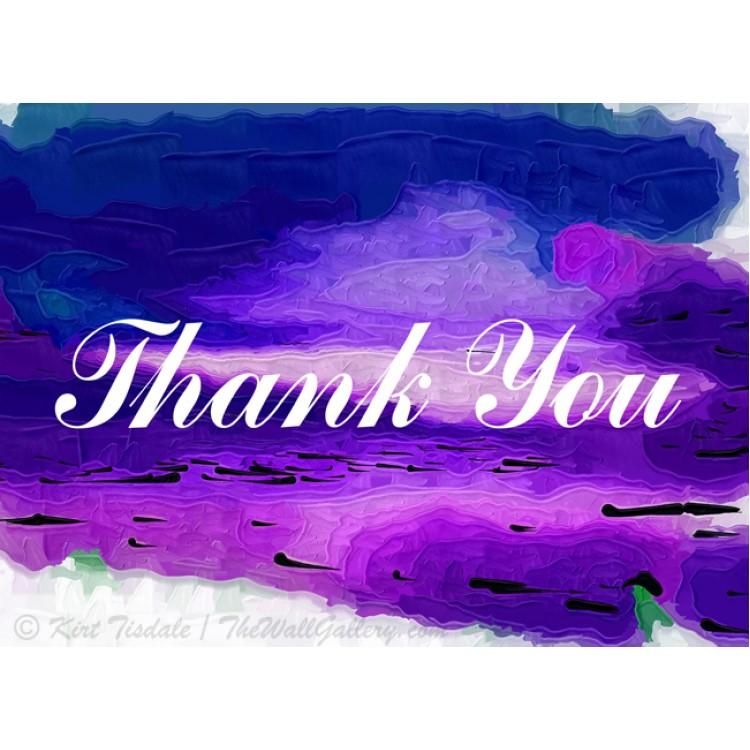 Purple and Blue Abstract Thank You Card