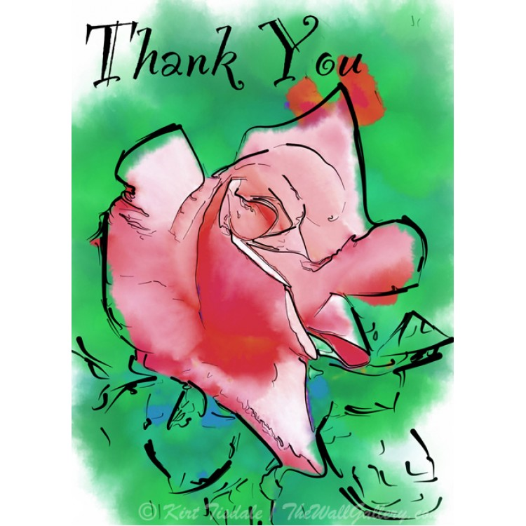 Subtle Red Rose Bud Thank You Card