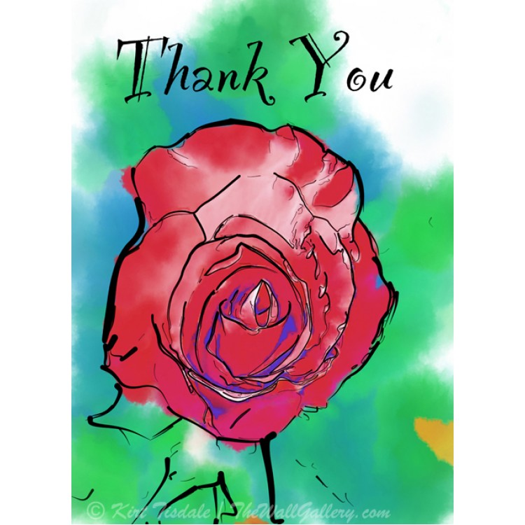 Soft Red Rose Thank You Card