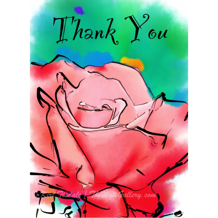 Soft Red Rose Bloom Thank You Card
