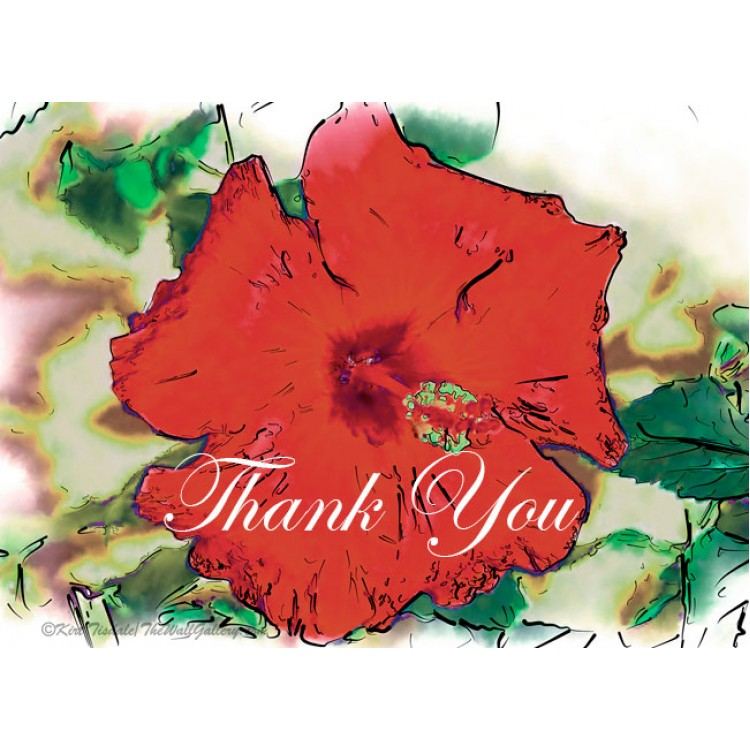 Red Hibiscus Bloom Thank You Card