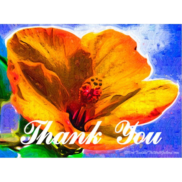 Orange Hibiscus Thank You Card