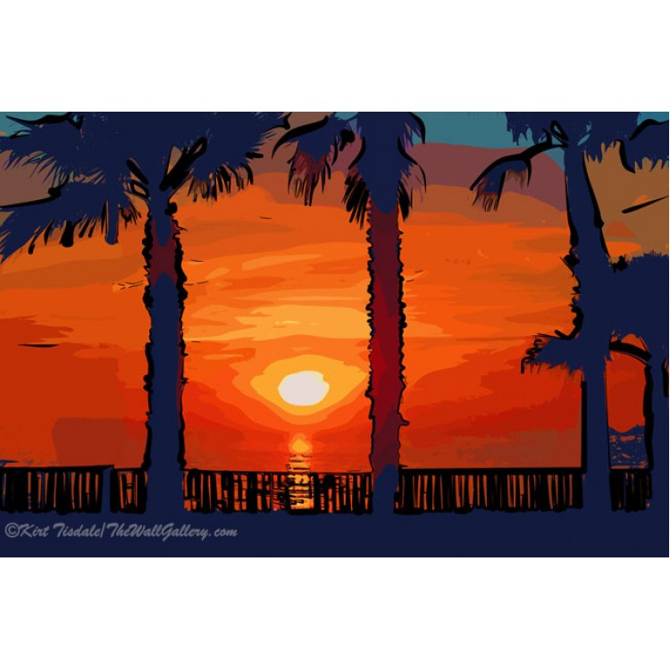 Ocean Sunset Between Two Palm Trees